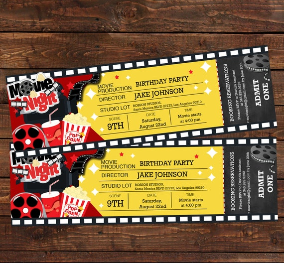 movie ticket birthday invitation movie party invitation movie