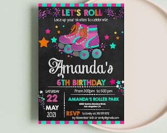 Roller skating invitation for girls | Roller skating invitations for birthday party | Roller Skating Chalkboard  | DIY Party Invitation