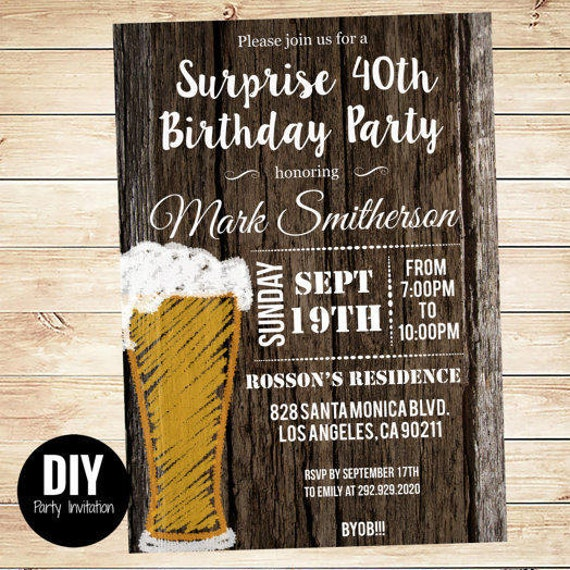 Printable Downloadable Mens Surprise Birthday Party