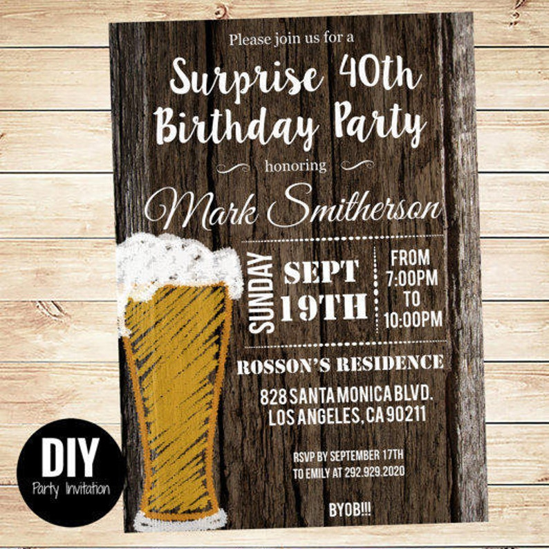 Printable Downloadable Mens Surprise Birthday Party Invitations