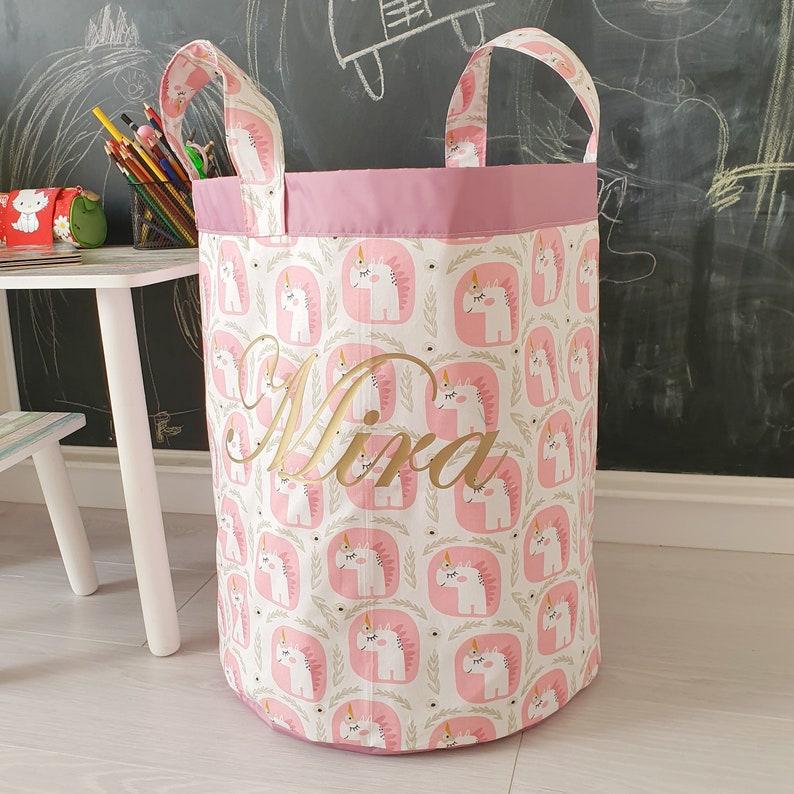 Personalized fabric basket Unicorns Fairy tale nursery Basket Basket with name
