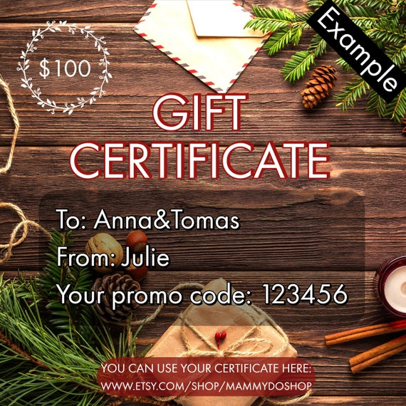 download gift certificate printable gift certificate gift etsy