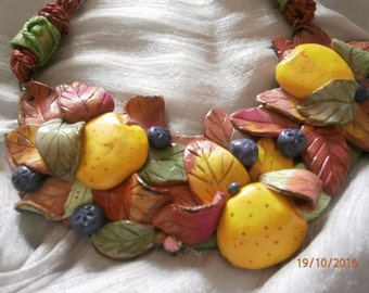 AUTUMN leaves and yellow apples APPLES pink, red, bordeaux