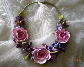 SPRING (sold) polymer clay necklace with rose and small pink and lilac crocus