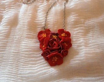 Heart in polymer clay, red flowers. Easy to wear necklace, lightweight