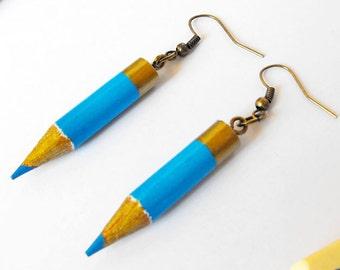 Upcycled earrings geek gift colored pencils eco friendly earrings teacher presents geek girl geek earrings artist earrings teenager earrings