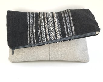 Vertical woven stripes-Fold Over Clutch-Genuine Leather-- Zipper Clutch, gift for her,- day- evening