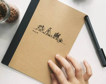 houses illustrated a5 muji lined notebook