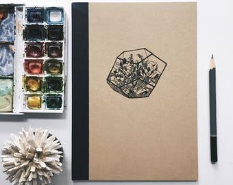 terrarium hand illustrated lined muji a5 notebook
