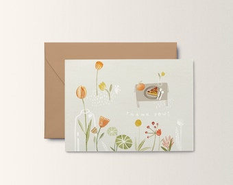 A6 Monochrome Tulips Postcard