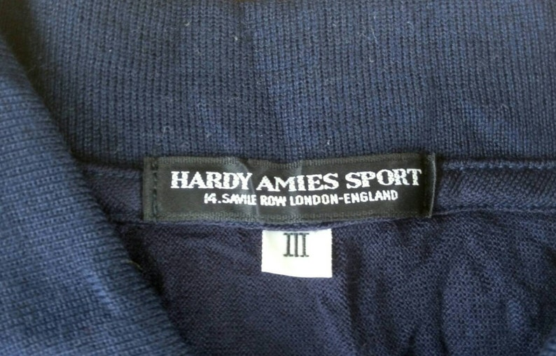Vtg 100/% Wool HARDY AMIES SPORT Savile Row London Long Sleeve Polo Shirt