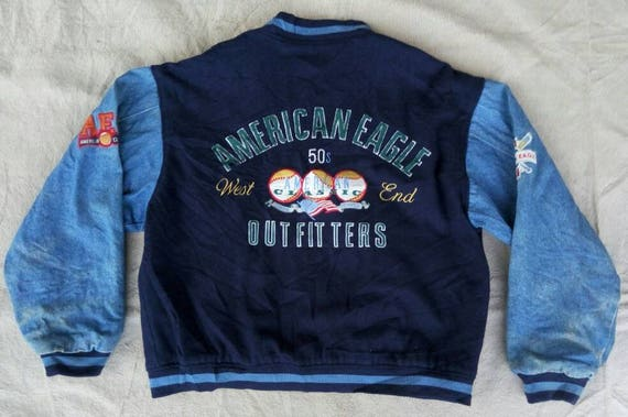 fdd68ae8370 Vtg 80s 90s AMERICAN EAGLE OUTFITTERS Baseball Jacket