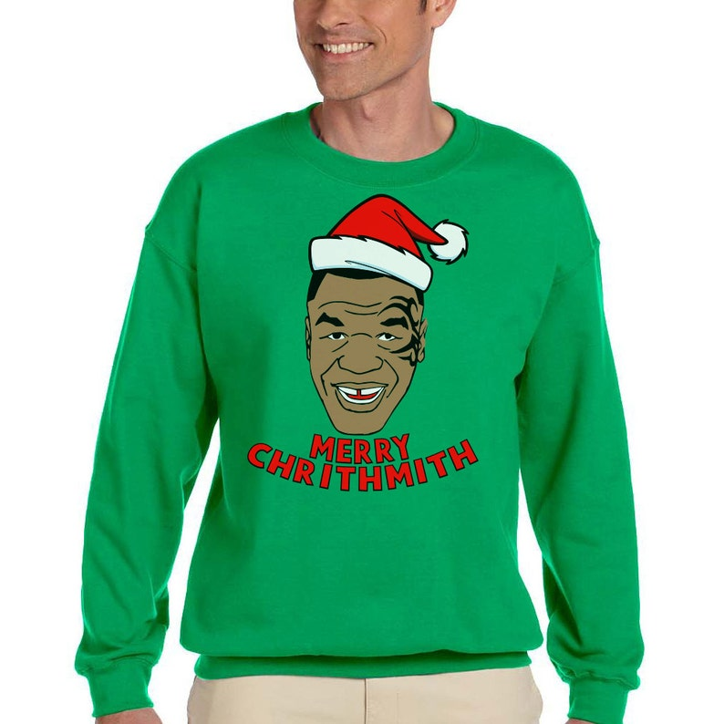 Mike Tyson Merry Chrithmith Ugly Christmas Sweater NEW Gildan image 1