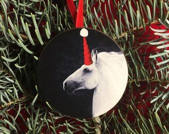 Unicorn Santa Christmas Tree Ornament