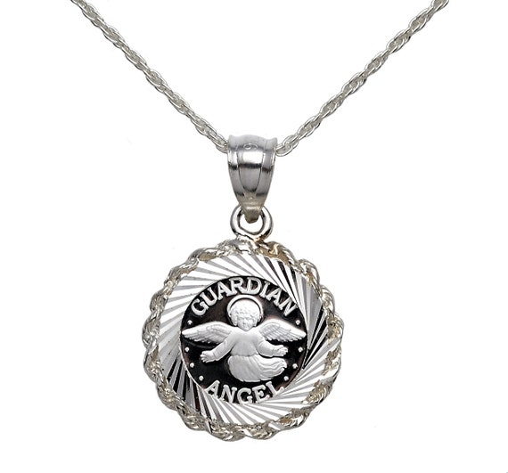".999 PURE SILVER GUARDIAN ANGEL COIN IN S//S DIA.-CUT BEZEL 18/"" S//S ROPE CHAIN"