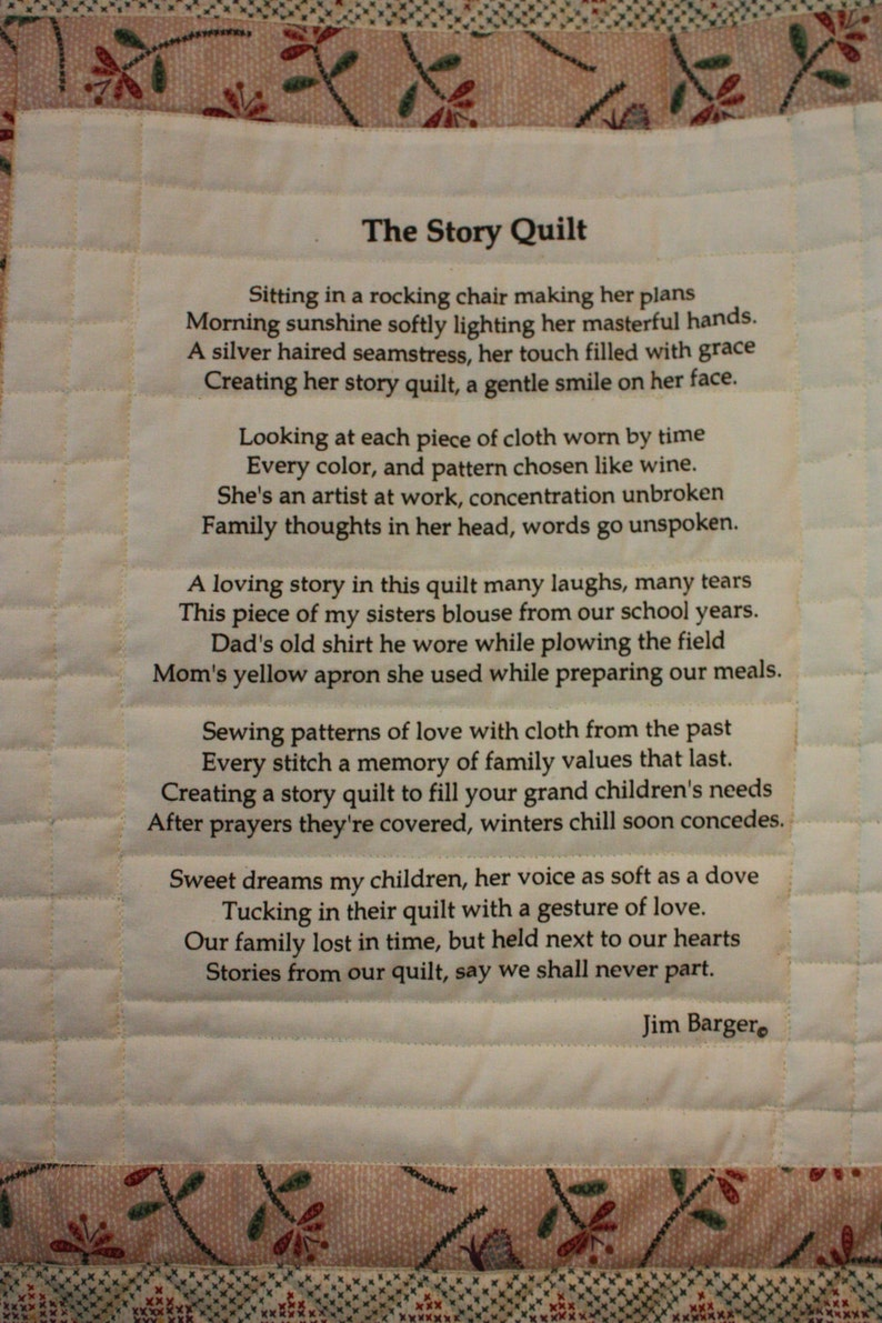 The Story Quilt Quilt block printed on muslin poem