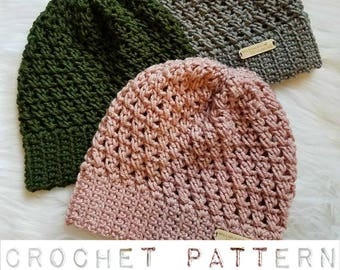 The Riley Hat PATTERN, Crochet Pattern, Crochet Slouchy Beanie Pattern, Crochet Hat Pattern