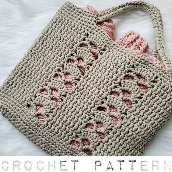 The Deco Tote Pattern Crochet Pattern Tote Bag Beach Bag Etsy