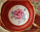 Paragon, England Double warrant tea cup saucer with large rose
