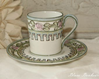 Nippon, Japan: Hand painted demitasse and saucer