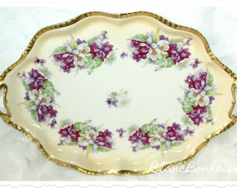Beyer & Bock, Prussia: Hand painted tray with violets (pansies) and white crocuses