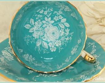 Aynsley, England: Turquoise tea cup & saucer