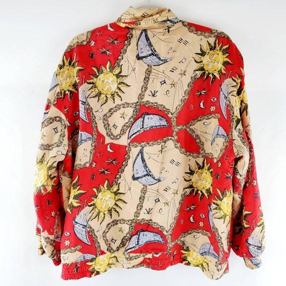 Vintage 90s Silk Celestial Print Bomber Jacket | … - image 2