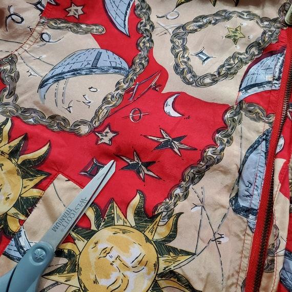Vintage 90s Silk Celestial Print Bomber Jacket | … - image 3