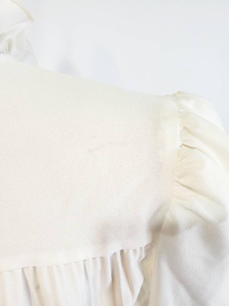 Vintage Off White Sheer Mock neck Ruffle Top