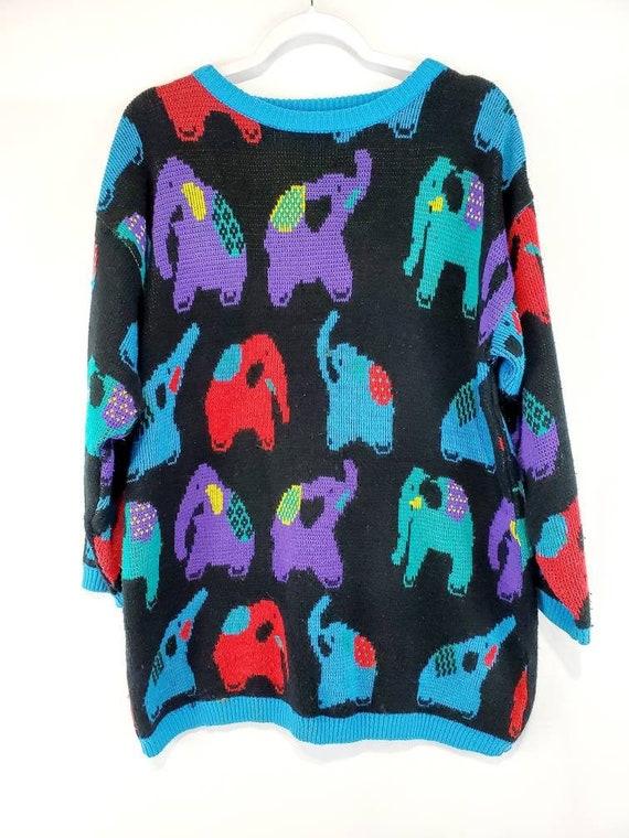 Vintage 80s Colorful Elephant Knit Sweater Large
