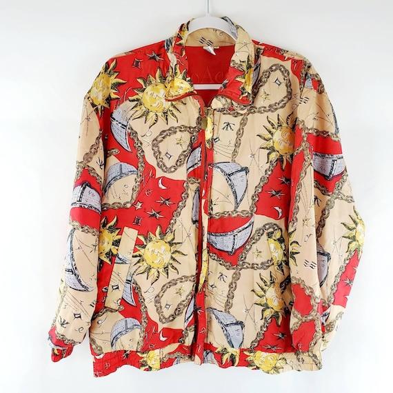Vintage 90s Silk Celestial Print Bomber Jacket | … - image 1