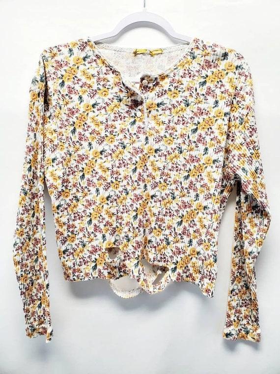Vintage 90s Floral Print Cropped Long-sleeved Shir