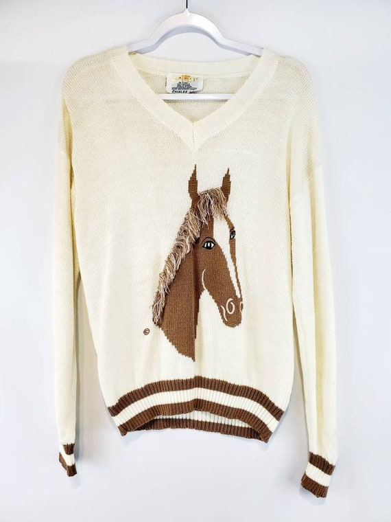 Vintage 70s Horse Head Knit Sweater XL | Cream and