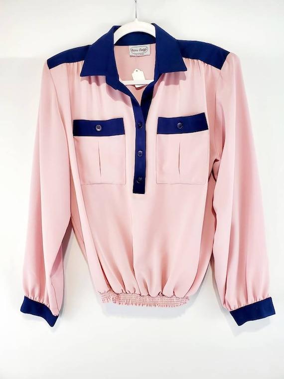 Vintage Pink and Navy Longsleeve Shirt   Pink Semi