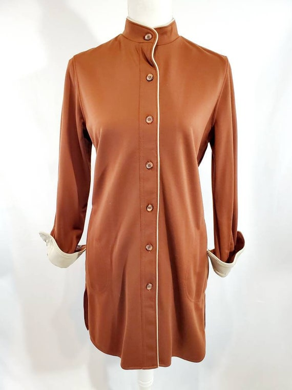 Vintage 60s Catalina Brown Mod Straight Cut Dress