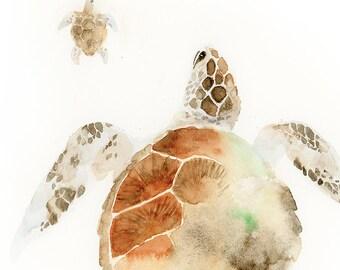 Sea Turtle Watercolor Art : sea turtle art print / sea turtle mother baby art print / modern turtle art / modern sea animal watercolor art