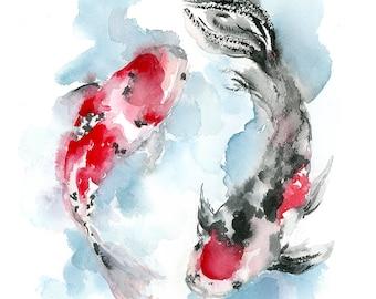 Koi Fish Art Etsy