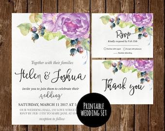 Druckbare Blumen Hochzeitseinladung, Blumen Hochzeit, Einladung, Lila  Hochzeitseinladung, Floralen Druck, Hochzeit Einladung Set