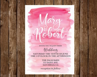 Wedding Invitation, Printable Wedding Invitation, Save the date, Watercolor Wedding Invitation Set Pink wedding invitation Printable wedding