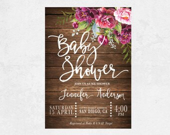 Baby shower invitation Floral Baby shower invitation, baby shower party baby shower invite Baby shower invitation printable instant download