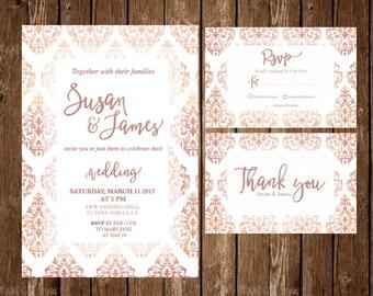 Rose gold wedding invitation, Printable Wedding Invitation, wedding invitation, template, RSVP thank you rose gold wedding set rose and gold