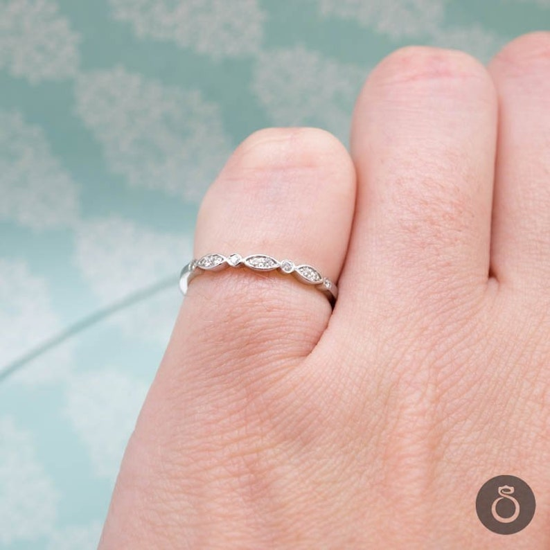bec547616aa Dainty Engagement or Promise Ring with Brilliant Cut Diamonds, Gold or  Platinum Multistone Jewelry for Women, Add a Free Engraving
