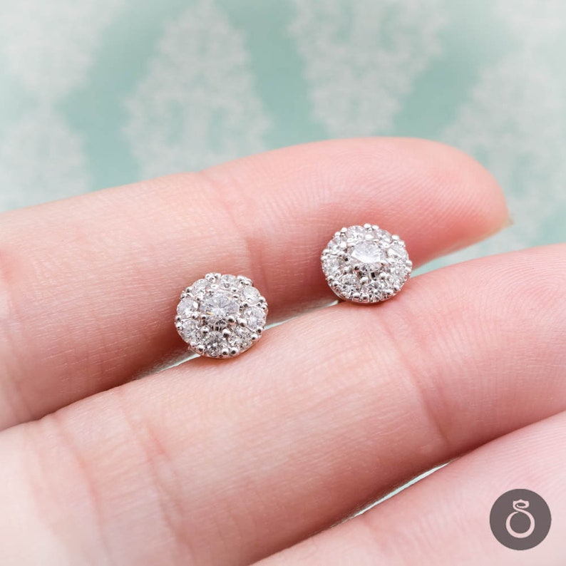 b85a9d662f4eb Round Multistone Diamond Stud Earrings With Real Diamonds, Elegant Gold or  Platinum Jewelry, Perfect Anniversary Gift, Great Quality