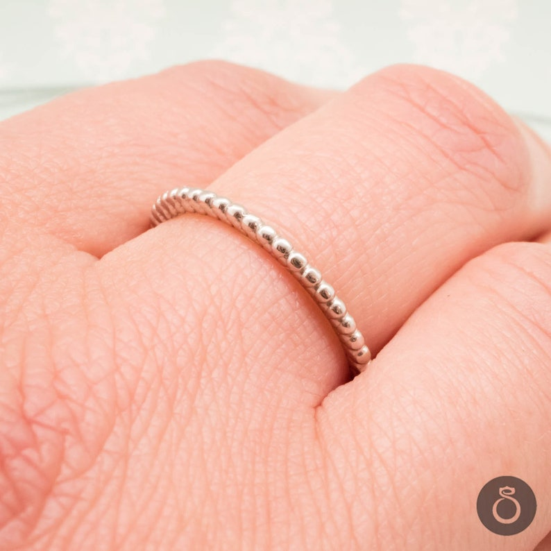 Minimalist Jewelry Dainty Gold or Platinum Band with a Simple Pattern Skinny Stackable Ring For Women Custom Made