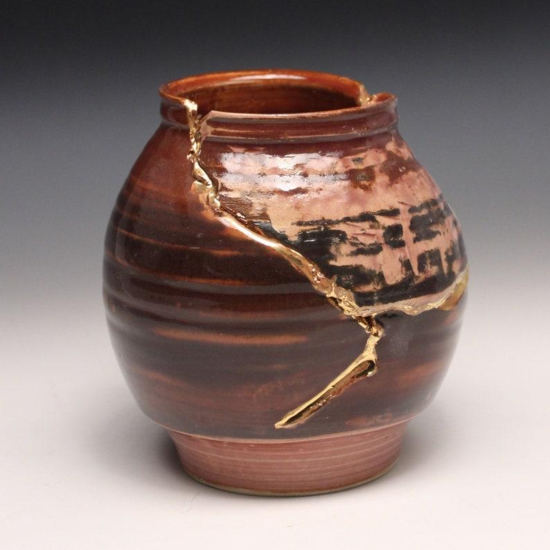 Wabi sabi Kintsugi inspired Functional stoneware flower vase Japanese art of golden joinery