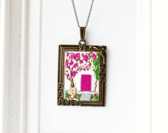 Secret garden necklace handmade from polymer clay and brass // Mothers Day gift // Unique jewelry // Mom birthday gift // Gift for her