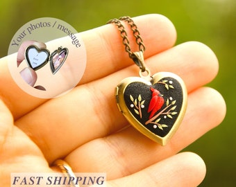 Heart cardinal Necklace with 2 photo inside Personalized necklace Birthday gift for mom Daughter gift for mother necklace Sympathy gift