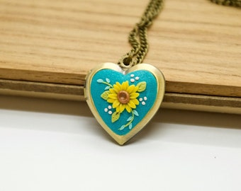Personalized locket with photo Sunflower locket  Heart locket Mother daughter Turquoise necklace Message necklace, Mom birthday Tiny jewelry