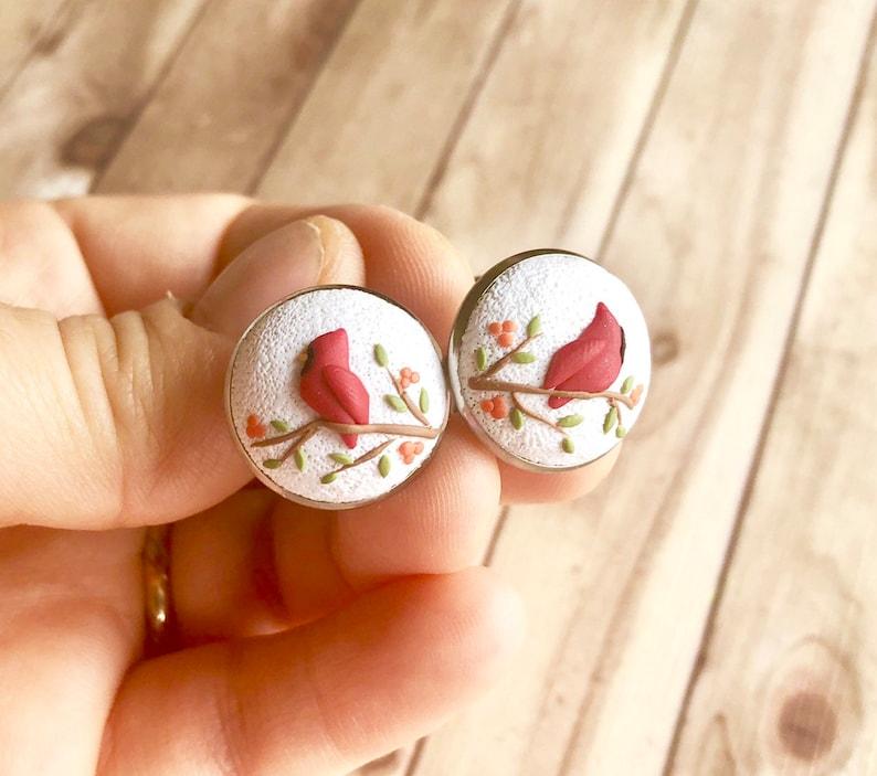 Custom father gift idea unique gift for man Cardinal bird cufflinks Bird lover gift Husband birthday gift Meaningful gift