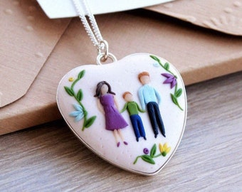 Custom family portrait necklace Handsculpted clay on silver Mom birthday gift Daughter gift For wife anniversary New child 40th birthday